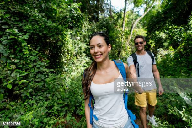 Portrait of a happy couple hiking