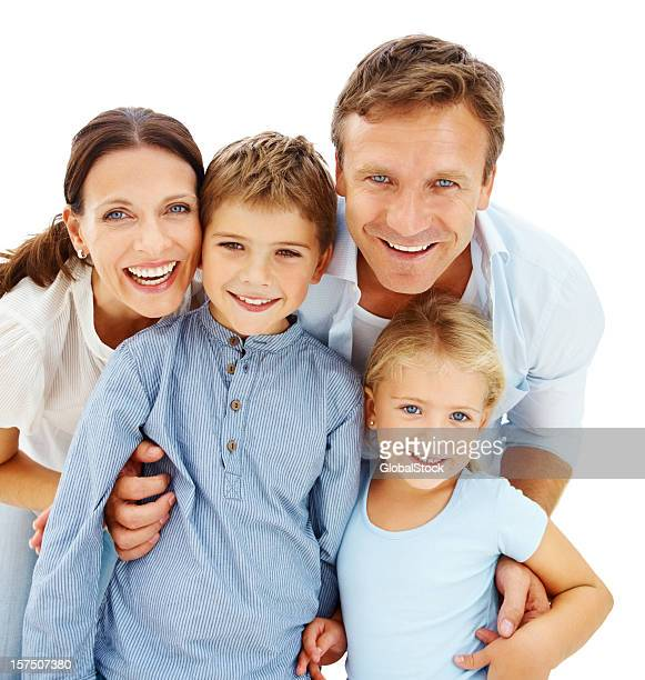 Portrait of a happy family over white