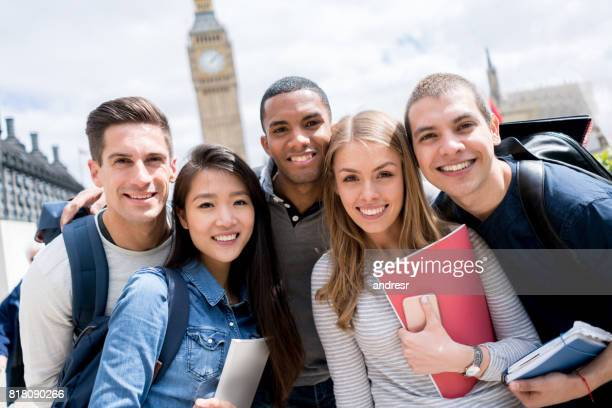Portrait of a happy group of students in London
