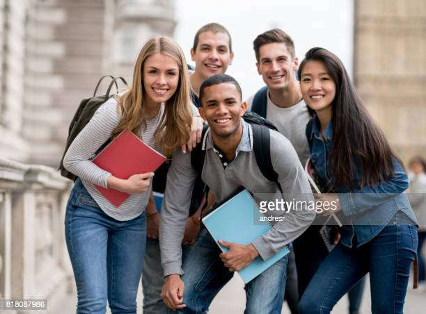 Portrait of a happy group of students outdoors