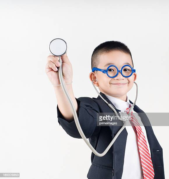 portrait of a happy kid with stethoscope