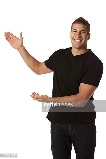 Portrait of a happy man gesturing