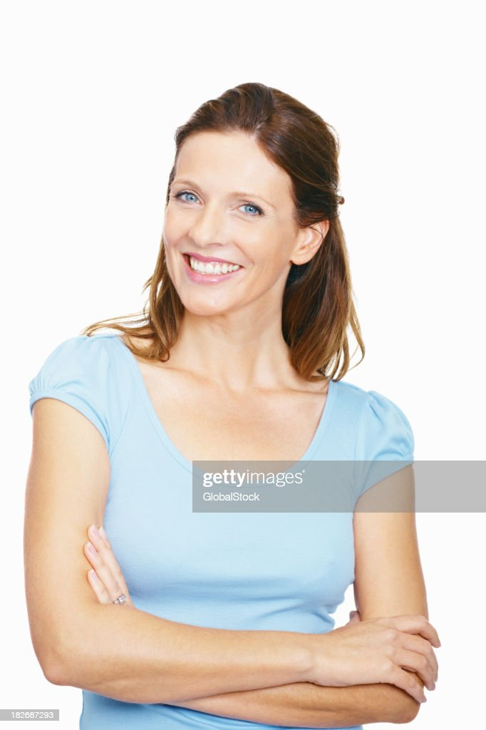 Portrait of a happy mid adult lady against white