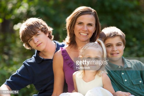 Portrait of a happy mother with her children : Foto de stock