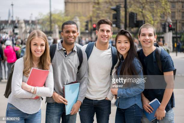 Portrait of a happy multi-ethnic group of students outdoors