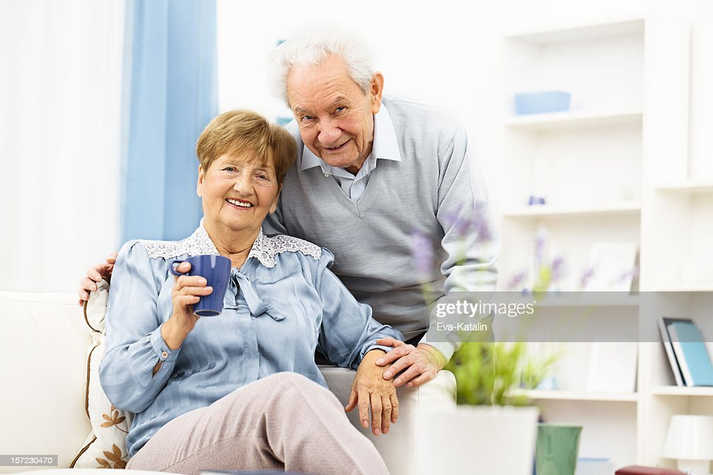 Portrait of a happy senior couple : Stock Photo