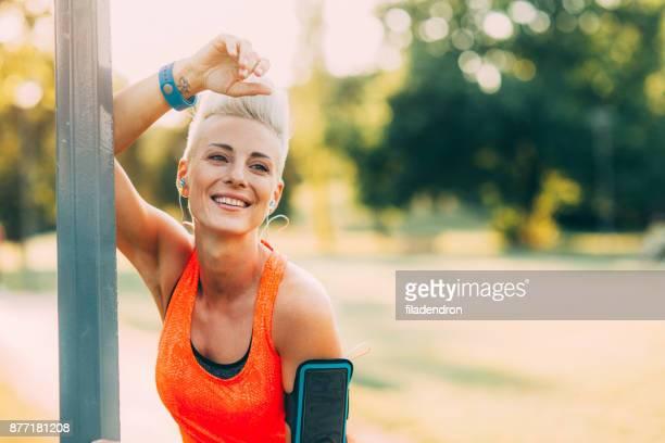 Portrait of a happy sportswoman