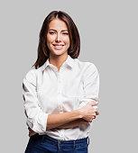 Successful woman studio shot