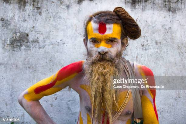 Portrait of a hindu sadhu (holy man) at the hindu temple complex of Pashupatinath, in Kathmandu, Nepal.