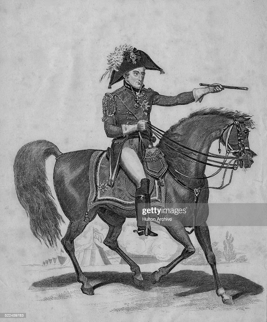 Portrait of a horse mounted Field Marshal Arthur Wellesley 1st Duke of Wellington KG GCB GCH PC FRS who was a British soldier and statesman a native...