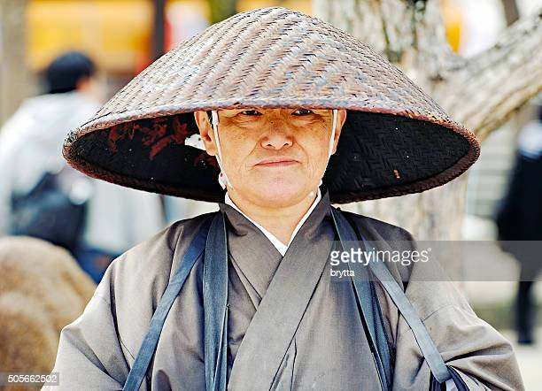 Portrait of a Japanese buddhist monk with traditional clothing