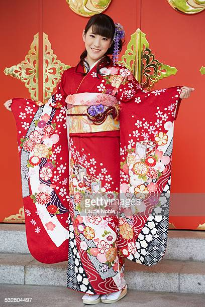 Portrait of a Japanese lady wearing a Kimono