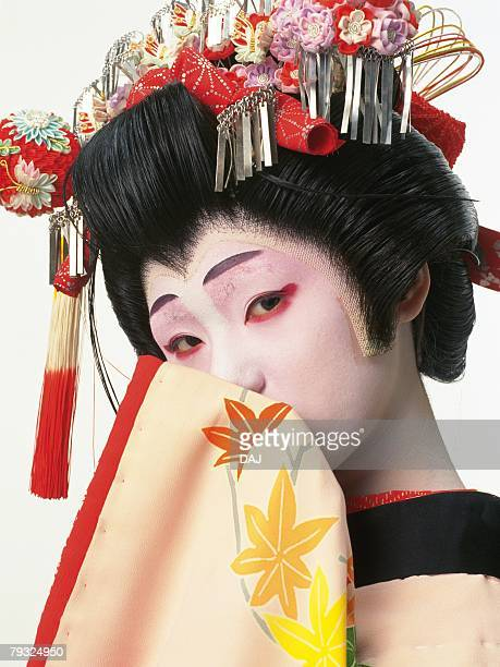 Portrait of a Kabuki actor acting as a female, Side View