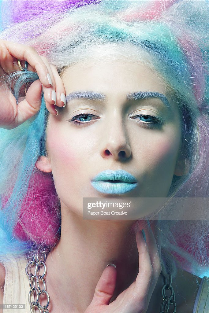 Portrait of a lady with colorful hair and lips : Stock Photo