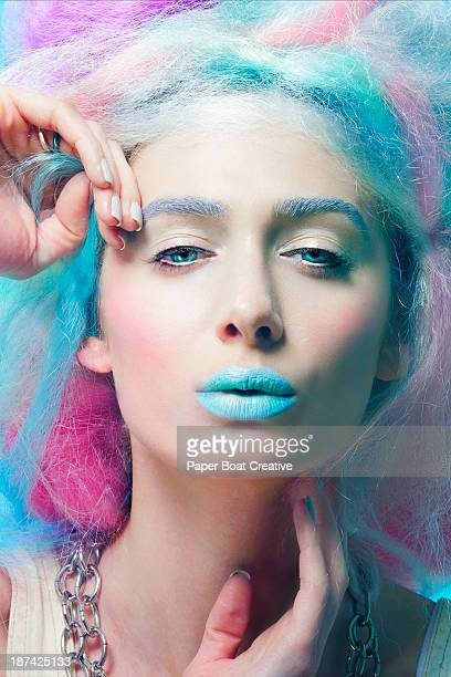Portrait of a lady with colorful hair and lips