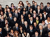 Portrait of a large Group of Business People Standing Outdoors