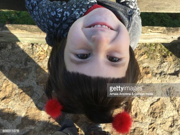Portrait of a little girl from above