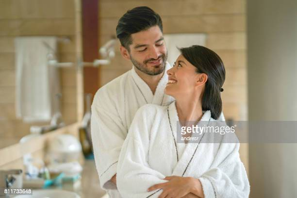 Portrait of a loving couple in the bathroom