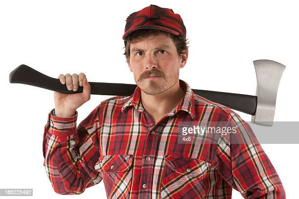 Portrait of a lumberjack with an axe
