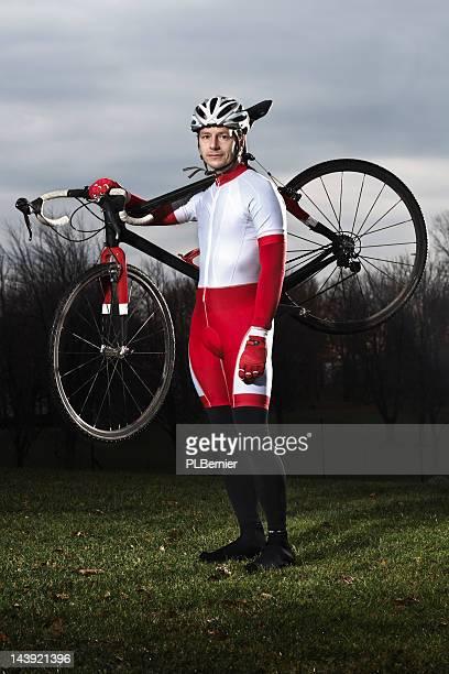 Portrait of a male cyclo-cross racer.