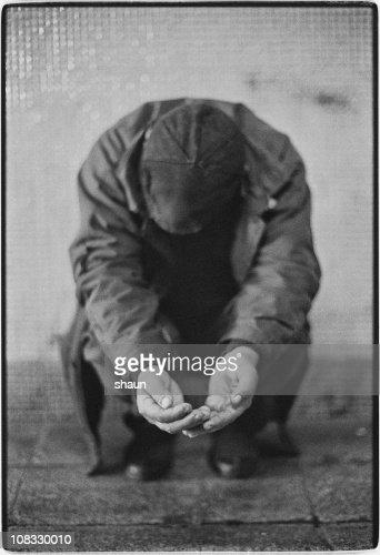 Portrait of a man Begging