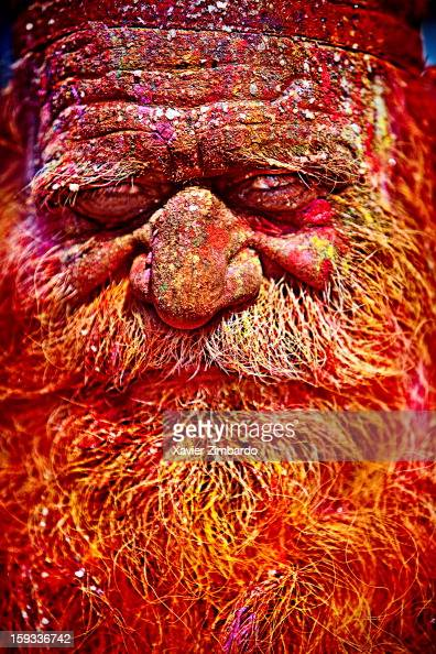 Portrait of a man covered with coloured powdered dye and coloured water that people throw on each other during Holi the merriest of all the Hindu...