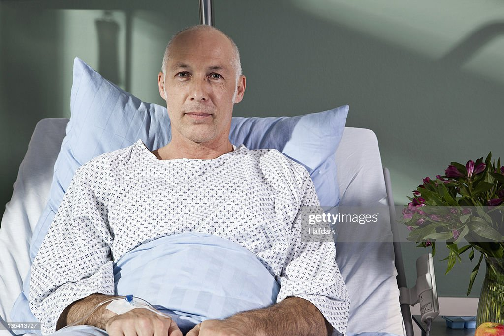 Portrait of a man in a hospital bed