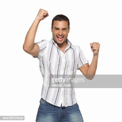 Portrait of a man looking excited : Stock Photo