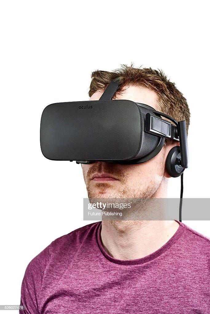 Portrait of a man wearing an Oculus Rift virtual reality headset, taken on April 13, 2016.