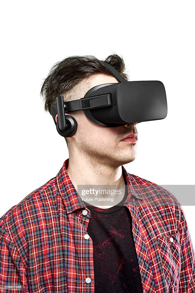 Portrait of a man wearing an Oculus Rift virtual reality headset, taken on April 13, 2016.