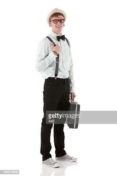 男性のポートレート、ブリーフケース付き
