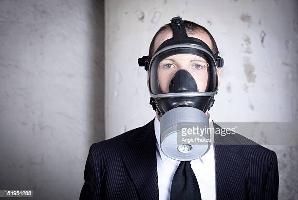 Portrait of a man with gas mask