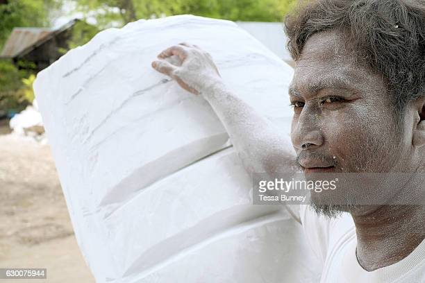 Portrait of a marble carver in Sagyin village on 19th May 2016 in Mandalay region in Myanmar Sagyin a village 21 miles north of Mandalay is known for...