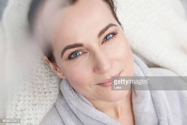 Portrait of a mature woman, wearing bathrobe