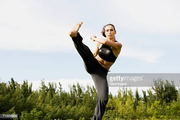 Portrait of a mid adult woman practicing martial arts