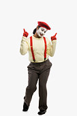 Portrait of a mime smiling