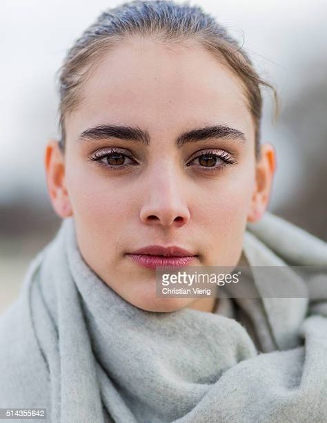 Portrait of a model with wet hair and eye make up outside Valentino during the Paris Fashion Week Womenswear Fall/Winter 2016/2017 on March 8 2016 in...