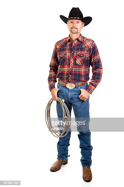 Portrait of a modern cowboy on white background