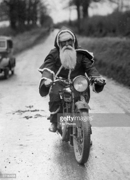 A portrait of a modernised Santa Claus riding a motorbike