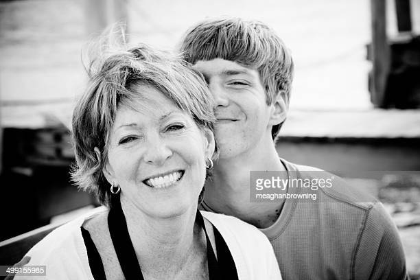 Portrait of a mother and son smiling