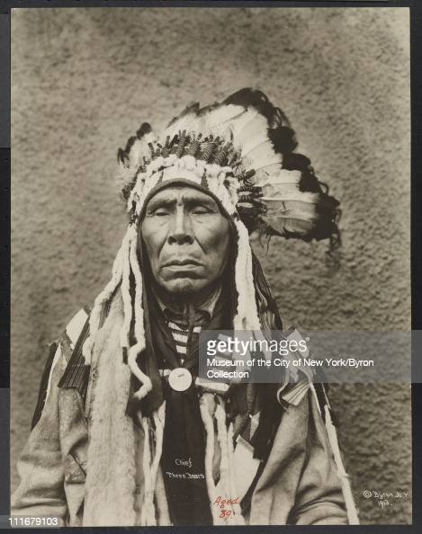 Portrait of a Native American chief Chief Three Bears aged 89 at the McAlpin Hotel New York New York 1913