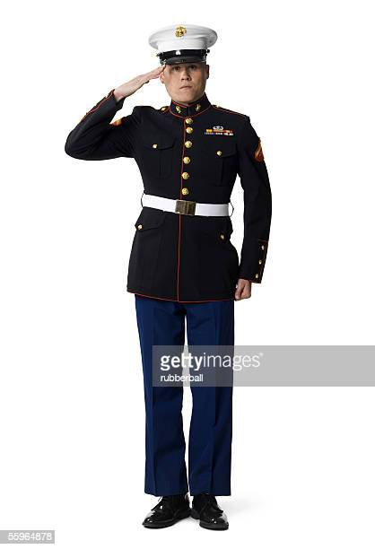 Portrait of a navy officer saluting