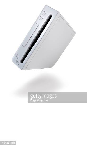 Portrait of a Nintendo Wii video game console photographed on a white background taken on August 2 2013