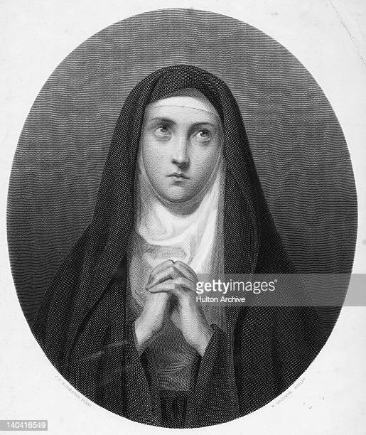 A portrait of a nun circa 1850 Engraved by N Lecomte after a painting by J G Schoeffer