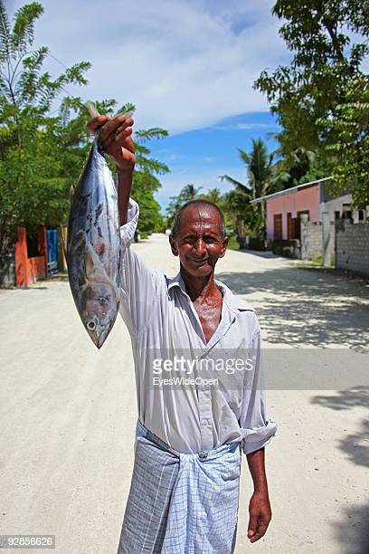 Portrait of a old Fisherman with a tuna fish on September 27 2009 in Fedu Island MaldivesThe maldive islands consist of around 1100 islands and...