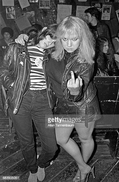Portrait of a pair of Punk rock fans outside CBGB on the Bowery New York New York October 30 1977