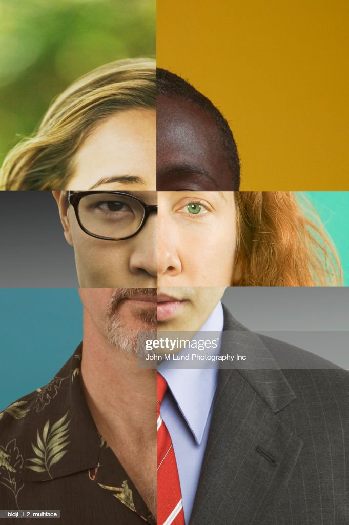 Portrait of a person's face with assorted sections of facial features superimposed : Stock Photo