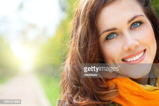 Portrait of a pretty woman wearing a scarf