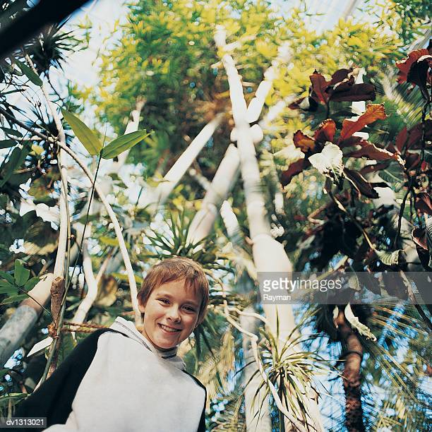 Portrait of a Primary Age Boy in a Lush Botanical Garden