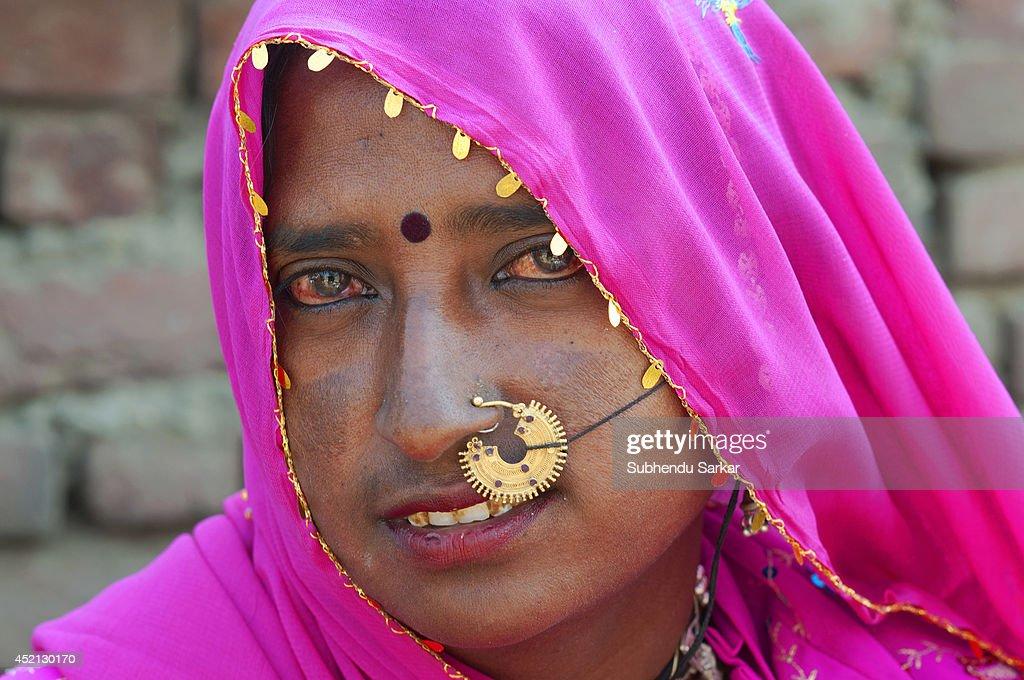 Portrait of a Rajasthani woman at Pushkar Camel fair Pushkar Rajasthan India